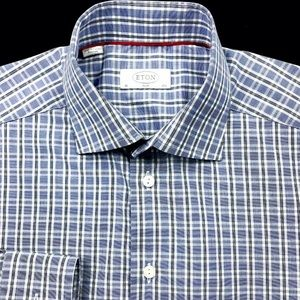 Eton Mens Blue Tattersall Check Button Front Slim